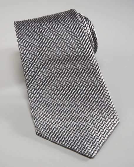 Basketweave Silk Tie, Gray