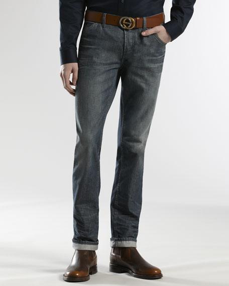 Slant-Pocket Skinny-Leg Jeans