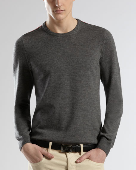 Web-Detail Crewneck Sweater, Gray