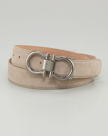 Suede Double Gancini Belt, Tan