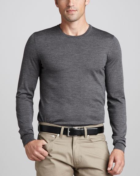 Merino Crewneck Sweater, Metropolis Gray Heather