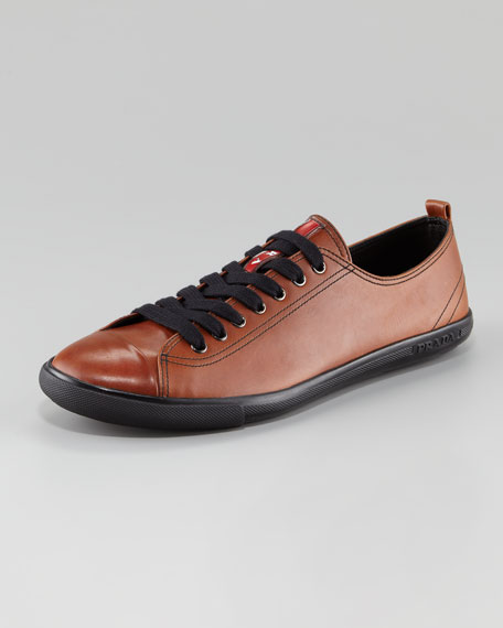 Leather Lace-Up Cap-Toe Sneaker, Brown