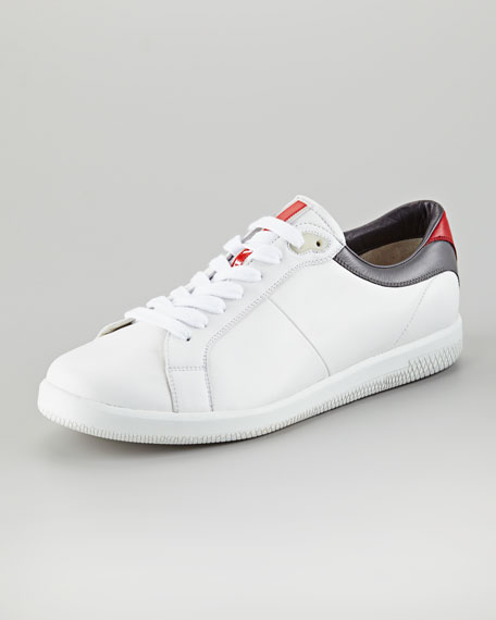 Contrast-Counter Leather Sneaker, White