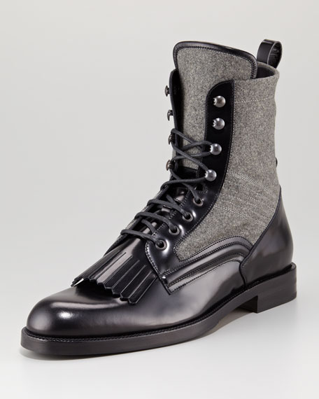 Chesham Leather/Flannel Roper Boot