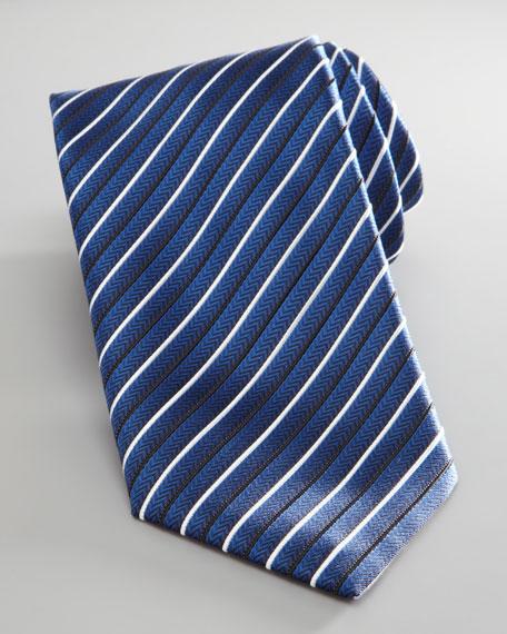 Silk Tie, Navy Stripe