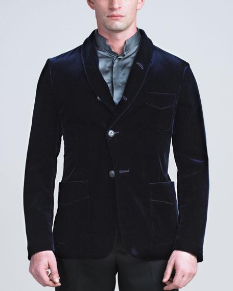 Velvet Shawl-Collar Jacket