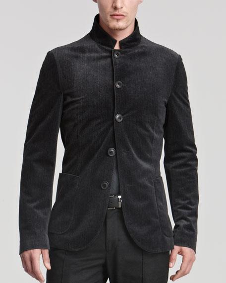 Velvet Microfiber Nehru Jacket, Charcoal