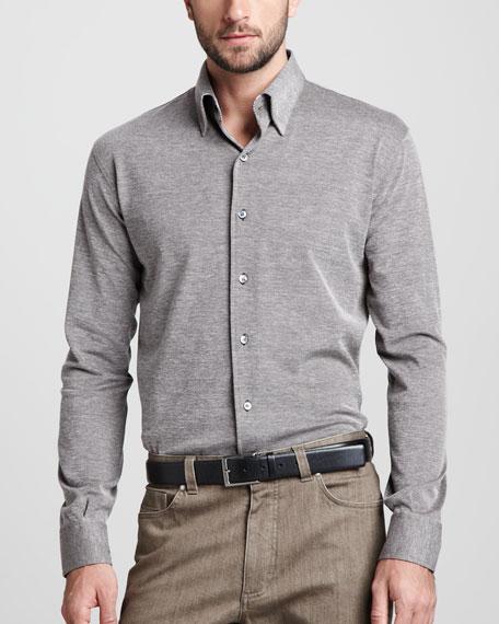 Birdseye Button-Down Shirt, Brown/Cream
