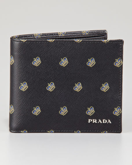 Crown-Print Saffiano Bi-Fold Wallet