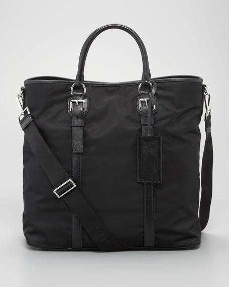 Nylon North-South Tote Bag, Black