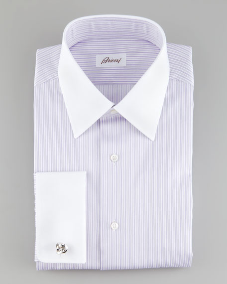Striped French-Cuff Dress Shirt, Lavender