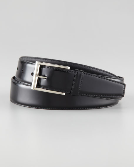 Spazzolato Leather Dress Belt