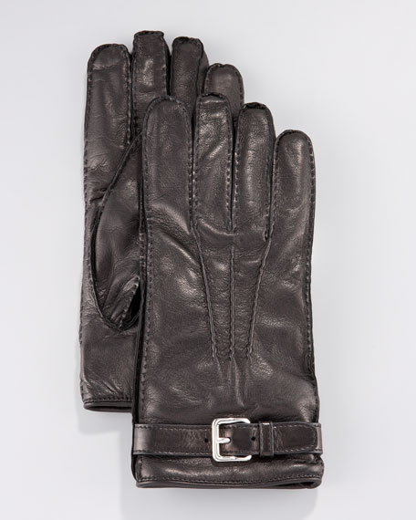 Leather Belted Glove, Black