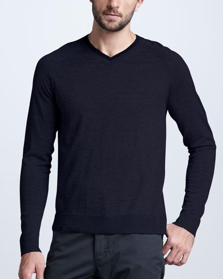 V-Neck Wool Sweater, Maignon