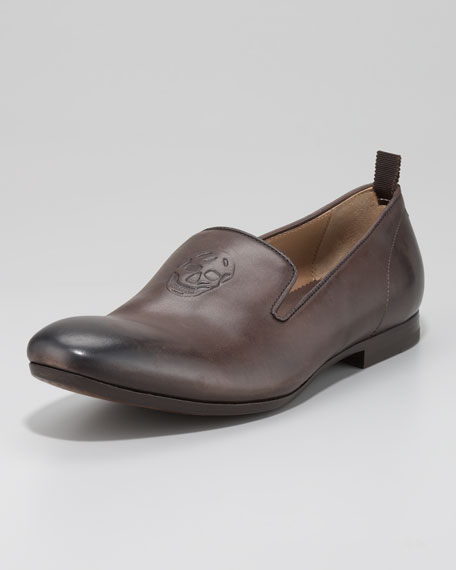 Embossed Skull Loafer, BROWN