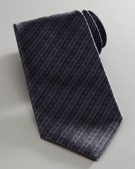 Diagonal Horsebit Striped Tie