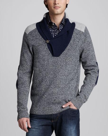 Colorblock Shawl-Collar Sweater