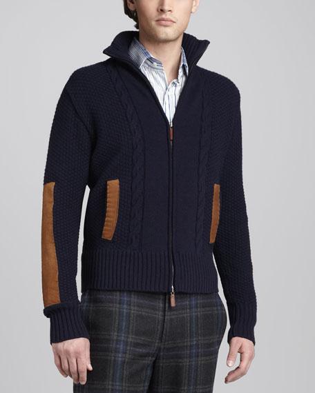 Suede-Detail Sweater Jacket