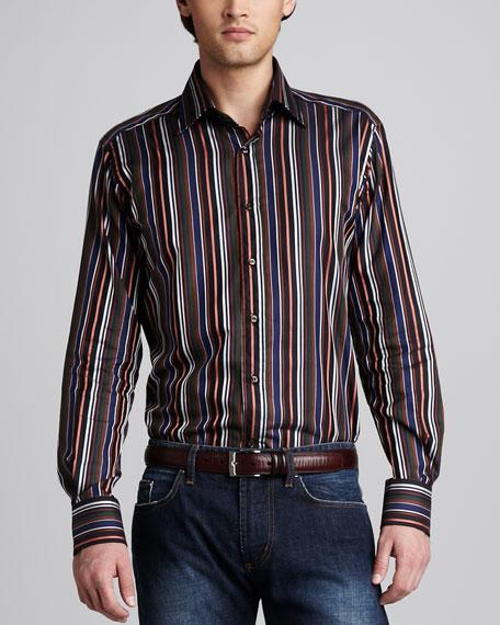 Striped Sport Shirt, Brown