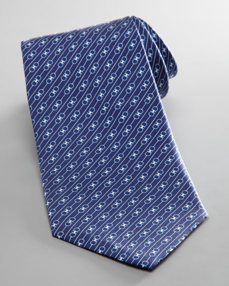 Diagonal Double Gancini Tie, Navy