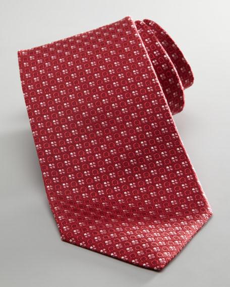 Gancini Floral Tie, Red