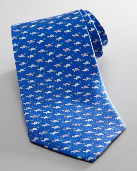Turtle Jacquard Tie, Navy
