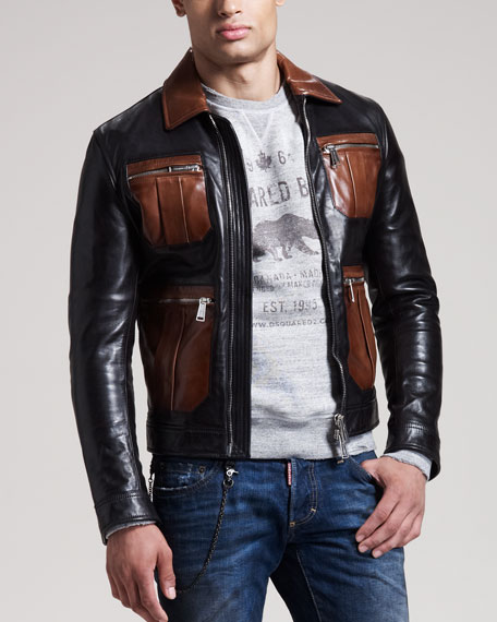 Contrast-Pocket Leather Bomber Jacket