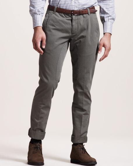 Herringbone Flat-Front Pants