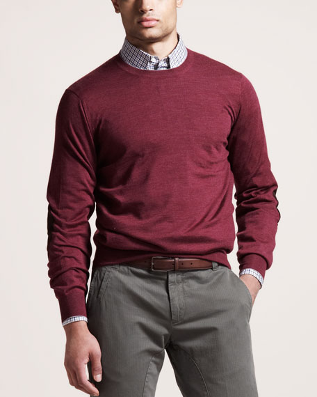 Suede-Patch Cashmere Sweater