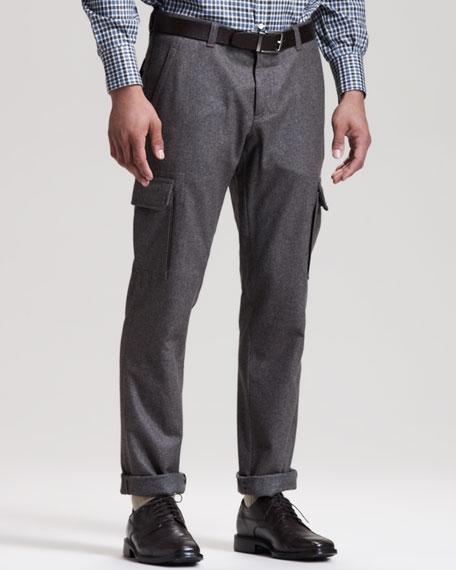 Slim Flannel Cargo Pants, Gray