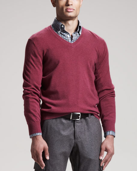 Two-Ply Cashmere Sweater, Raspberry