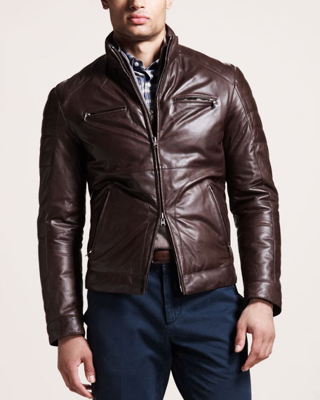 Reversible Leather Motorcycle Jacket