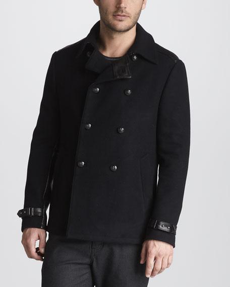 Leather-Trim Pea Coat