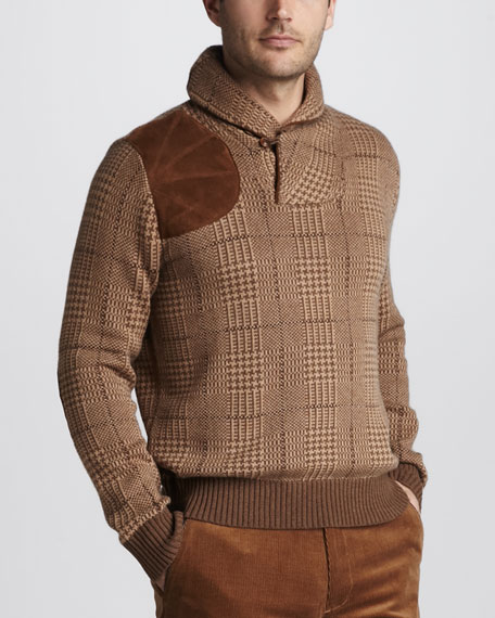 Glen Plaid Shawl-Collar Sweater