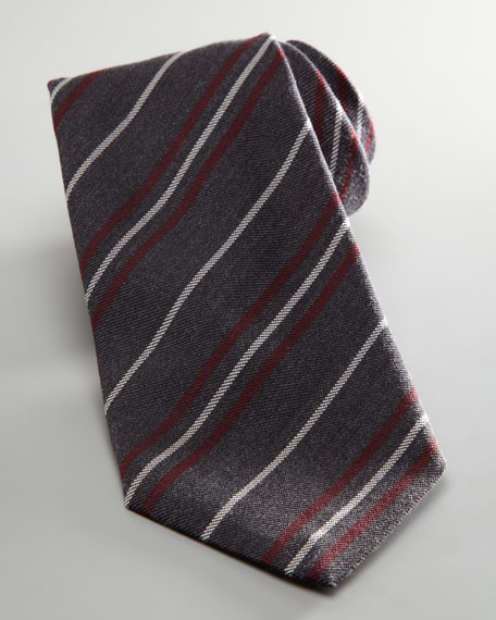Striped Flannel Tie, Gray