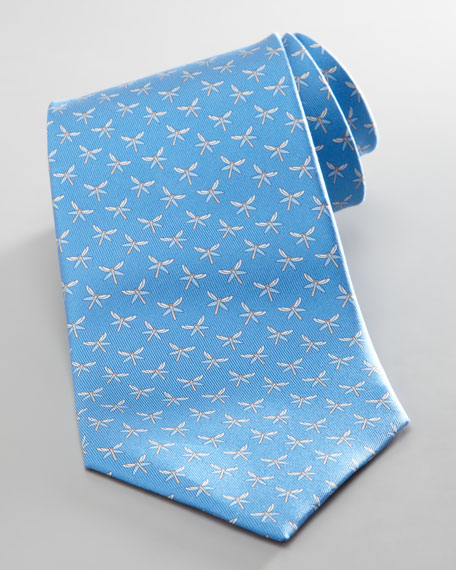 Dragonfly Jacquard Tie, Light Blue
