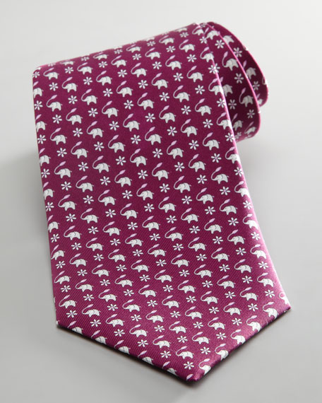 Elephant and Leaf Tie, Purple