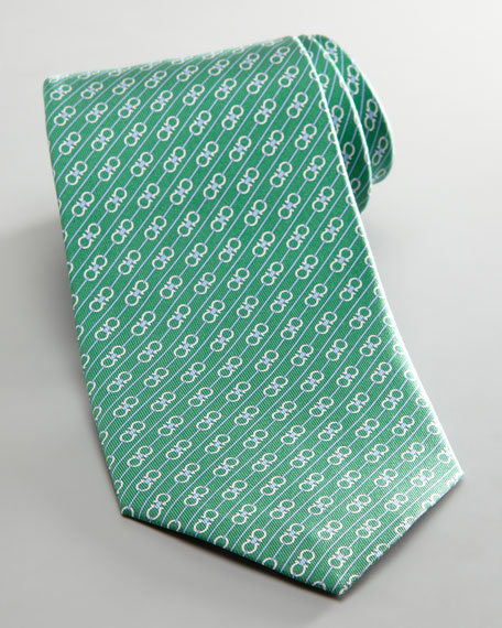 Diagonal Double Gancini Tie, Green