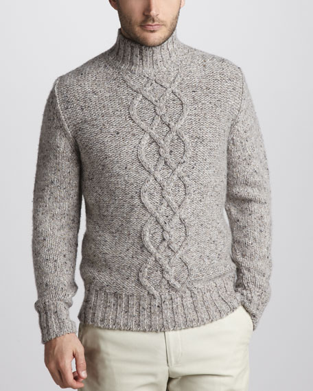 Cable-Knit Tweed Turtleneck