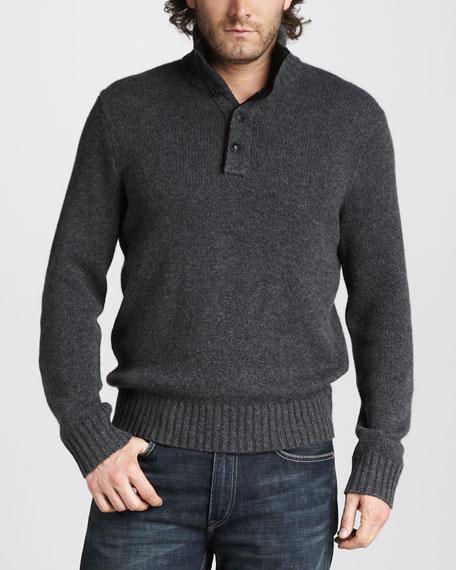 Mock-Neck Cashmere Sweater, Dark Gray Heather