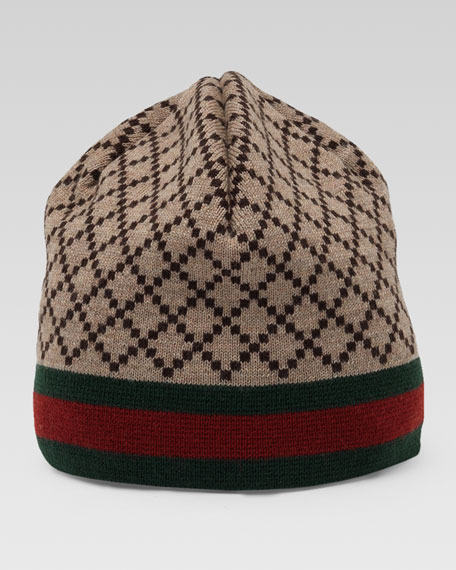 Diamante-Pattern Knit Hat with Web Detail
