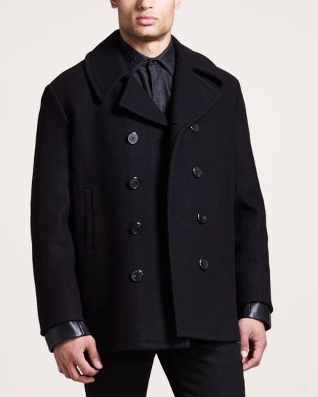 Leather-Cuff Pea Coat