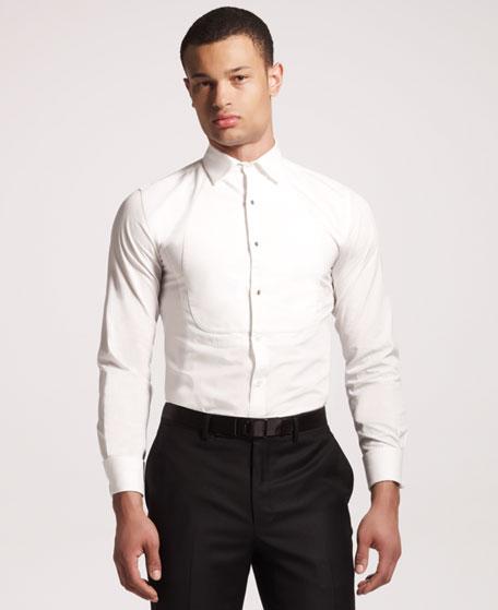 Bib-Detail Tuxedo Shirt