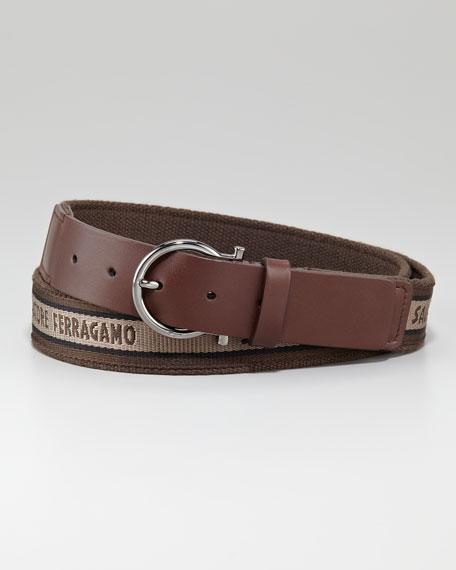 Nylon/Leather Logo Belt