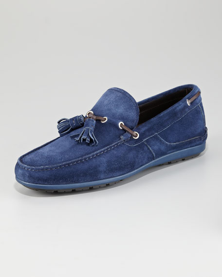 Amos 3 Suede Tassel Loafer, Navy