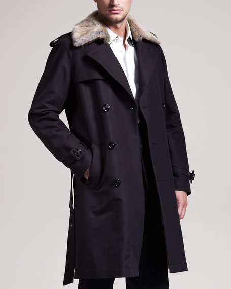 Fur-Trim Cotton Trenchcoat