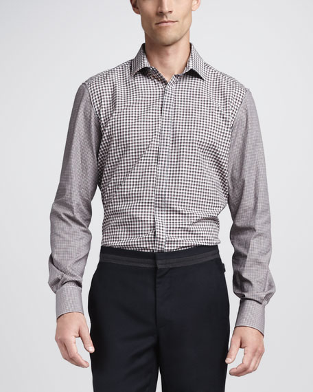 Contrast-Sleeve Check Shirt