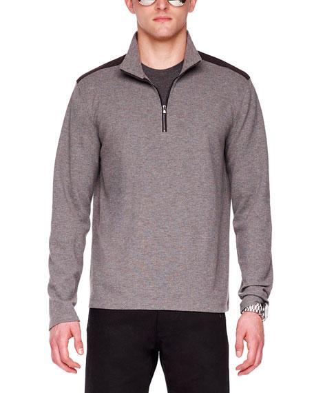 Nylon-Trim Melange Knit Zip Pullover