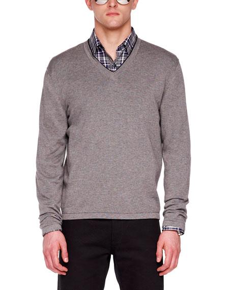 Tipped V-Neck Merino Sweater