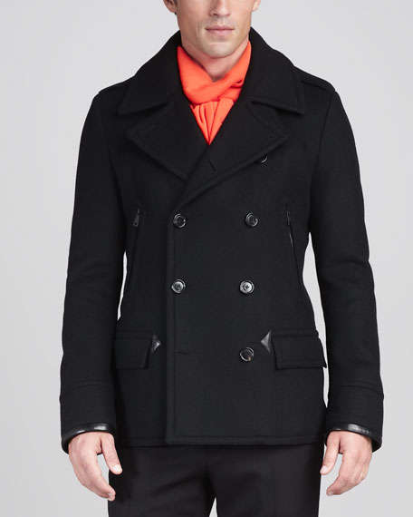 Leather-Trim Pea Coat